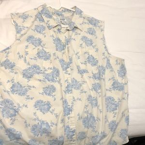 Old Navy white button up with blue floral pattern